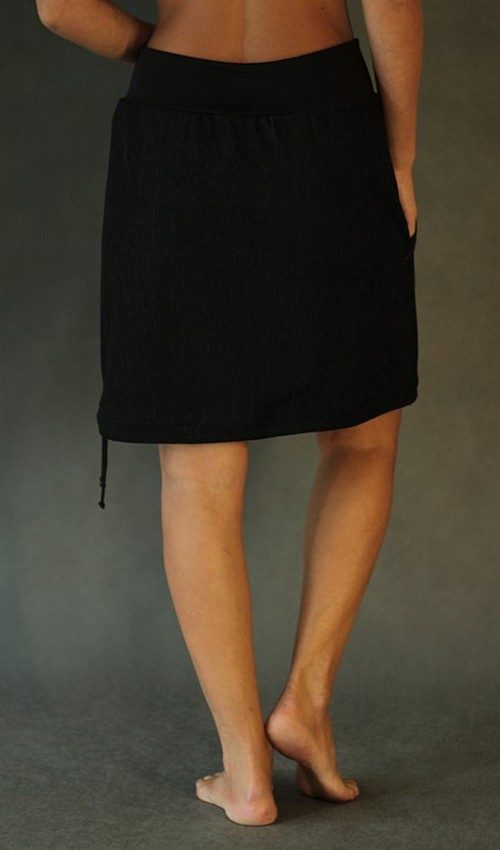 LaJuPe černá riflová sukně áčková černý náplet motiv růžová květina s kapsou