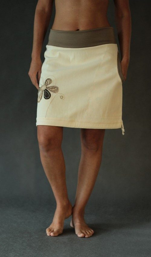 LaJuPe jeansová sukně béžová riflová áčková světlehnědý náplet motiv hnědá béžová květina s kapsou