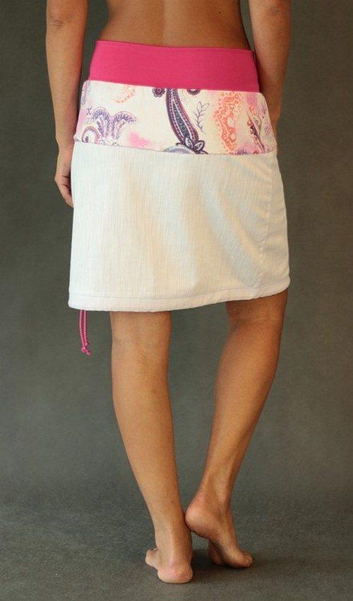 LaJuPe jeans sukně bílá se sedlem áčková růžový náplet motiv růžový tulipán s kapsou