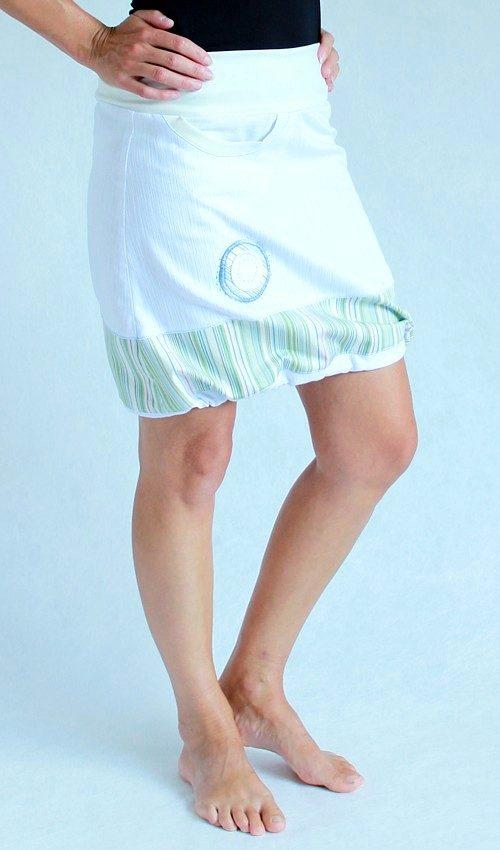 LaJuPe bílá džínová sukně áčková krémový náplet motiv zelený bílý kruh s kapsou