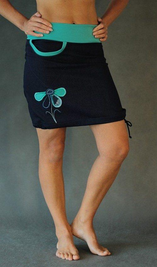LaJuPe modrá sukně riflová áčková tyrkysový náplet motiv tyrkysová květina s kapsou