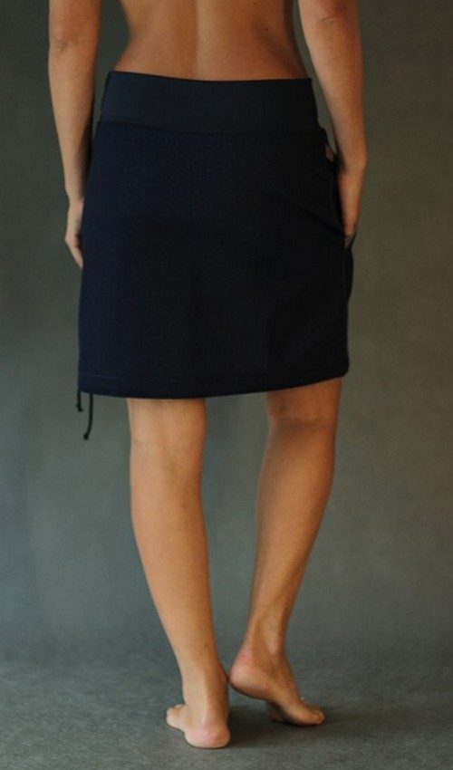 LaJuPe dámská džínová suknětmavomodrá riflová áčková tmavomodrý náplet motiv tulipán šedý hnědý