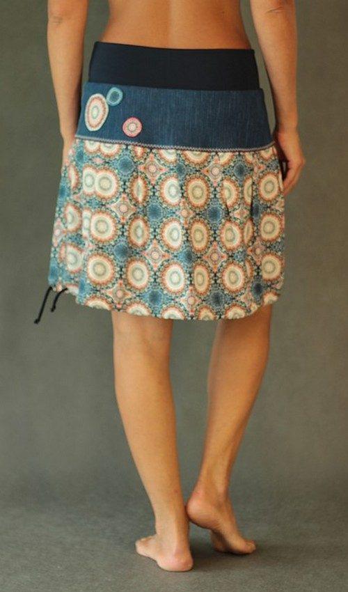 LaJuPe originální sukně viskózová oranžovomodrá se sedlem áčková tmavomodrý náplet motiv kruhy hvězdy aplikace 3kruhy