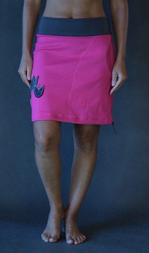 LaJuPe dívčí sukně polyester_viskóza_bez_podšívky_sytě růžová_šedá_áčková_1kapsa_tunýlek_středně šedá_šedá_tulipány_3tulipány