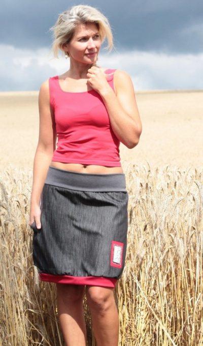 LaJuPe sukně džínová velké velikosti bavlna_polyester_bez_podšívky_černá_červená_áčková_1kapsa_úplet_šedá_červená_obdélník_známka