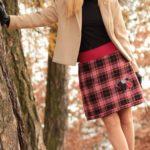 LaJuPe teplá zimní sukně polyester_viskóza_s_podšívkou_červená_černá_áčková_1kapsa_tunýlek_červená_černošedá_kytka_polokvět