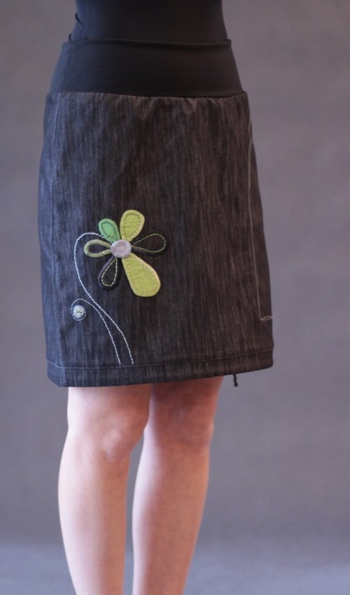 LaJupe dívčí riflová sukně  bavlna polyester bez podšívky černá zelená áčková 1kapsa tunýlek černá zelená kytka šestikvět ad94dc7c9f