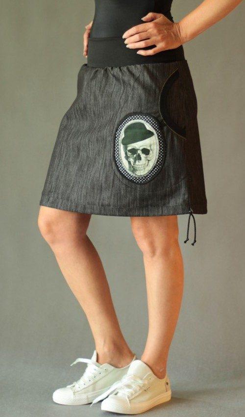 LaJuPe metalová sukně bavlna_polyester_bez_podšívky_černá_bílá_áčková_1kapsa_tunýlek_černá_černobílá_lebka_klobouk