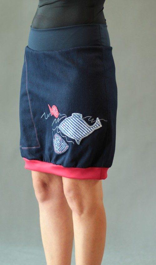 LaJuPe dívčí džínová sukně bavlna_elastan_bez_podšívky_modrá_červená_áčková_1kapsa_úplet_modrá_bílomodročervená_ryba_tři ryby