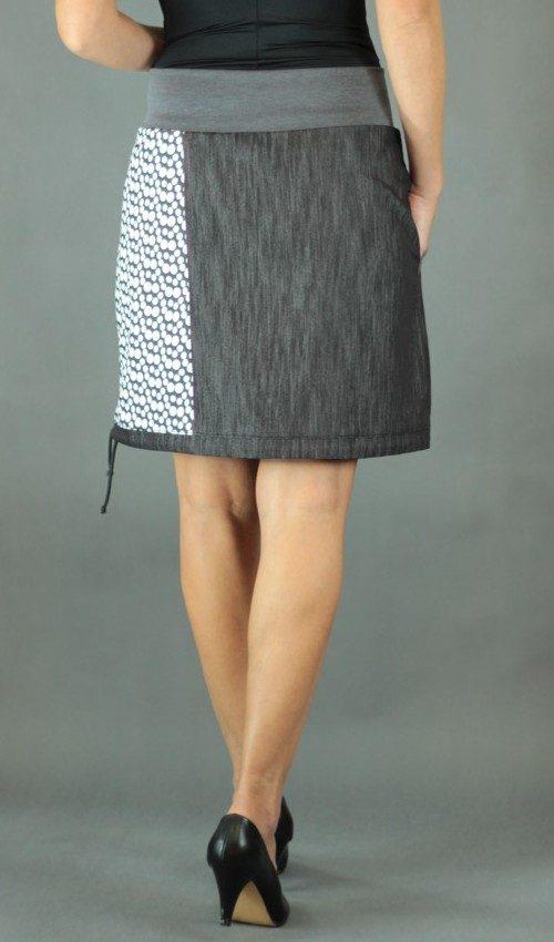 LaJuPe dlouhá dámská sukně bavlna_polyester_bez_podšívky_antracit_bílá_dělená_1kapsa_tunýlek_černá_šedočerná_terč _terčík