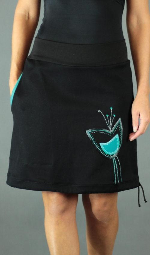 LaJuPe dlouhá černá sukně bavlna_polyester_bez_podšívky_černá_petrol_áčková_1kapsa_tunýlek_černá_petrol_kalich_v kalichu