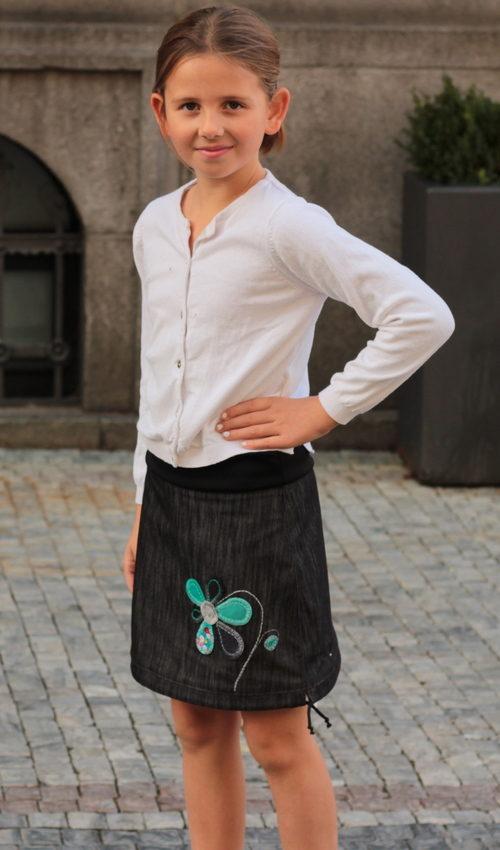 LaJuPe dětské sukně bavlna polyester_bez_podšívky_černá_tyrkys_áčková_bez_kapes_tunýlek_černá_tyrkys_kytka_květ