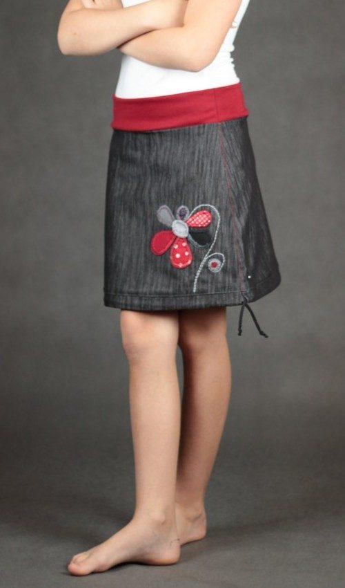 LaJuPe dívčí oblečení sukně bavlna_polyester_bez_podšívky_černá_červená_áčková_bez_kapes_tunýlek_červená_červená_kytka_květ