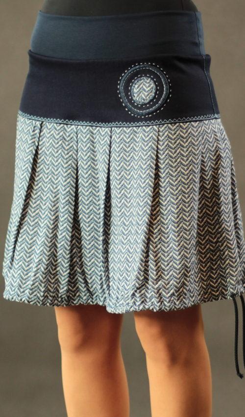 LaJuPe dámské letní sukně bavlna_viskóza_bez_podšívky_modrá_bílá_skládaná_bez_kapes_tunýlek_modrá_modrobílá_terčík