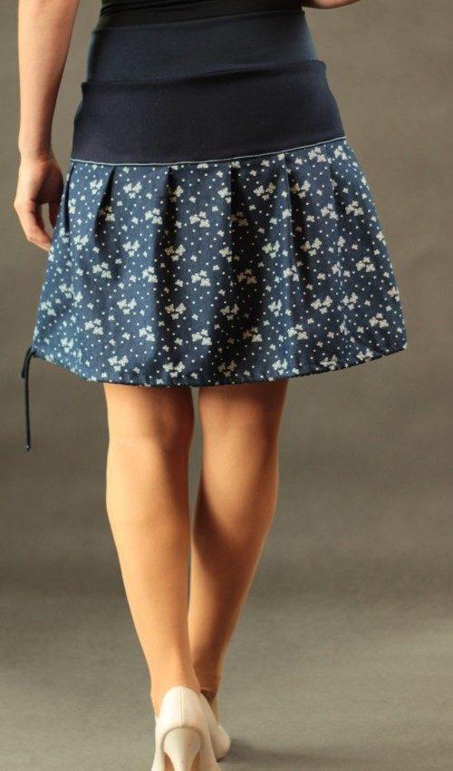 LaJuPe sukně s motivem bavlna_polyester_bez_podšívky_modrá_bílá_skládaná_bez_kapes_tunýlek_modrá_modrobílá_motýl