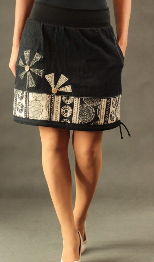 LaJuPe sukně s lycrou bavlna_elastan_bez_podšívky_okrová_černá_se_sedlem_dole_1kapsa_tunýlek_černá_okrovočerná_mlýn