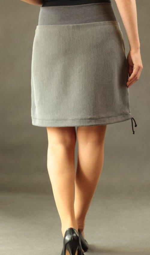 LaJUPe jednobarevná sukně viskóza_polyester_bez_podšívky_šedá_šedá_áčková_1kapsa_tunýlek_šedá_šedá_les