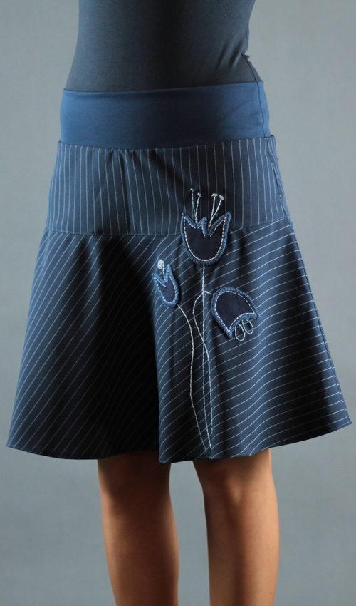 LaJuPe sukně proužek polyester_bez_podšívky_modrá_modrá_se_sedlem_nahoře_bez_kapes_hladké_modrá_modrá_louka_zvonky