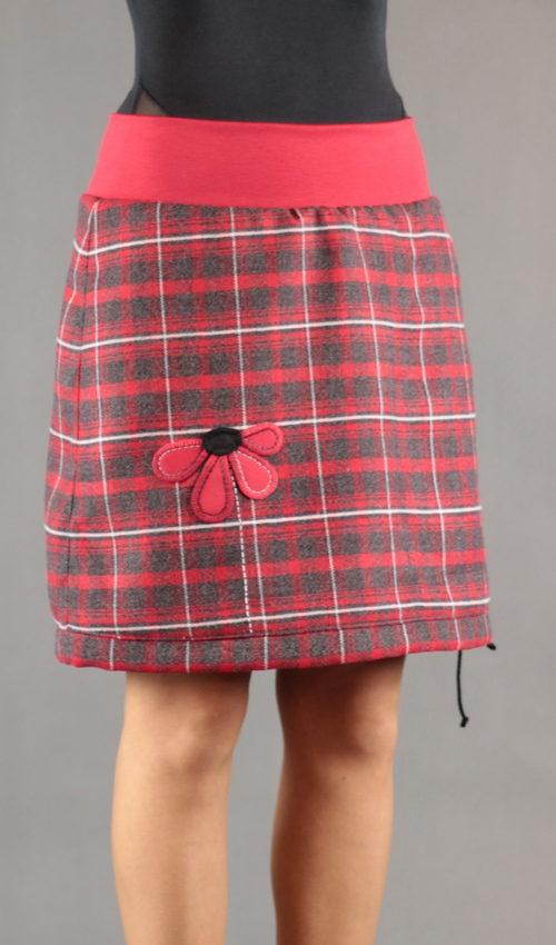 LaJuPe zimní dámská sukně polyester_viskóza_s_podšívkou_červená_antracit_áčková_1kapsa_tunýlek_červená_červená_kytka_půlkvět