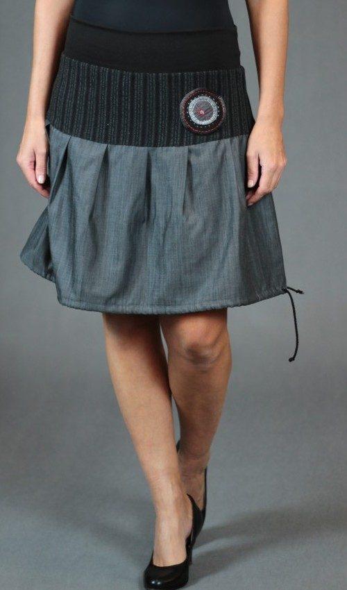 LaJuPe teplé sukně bavlna_polyester_bez_podšívky_šedá_černá_skládaná_bez_kapes_tunýlek_černá_šedočerná_terč_terčík