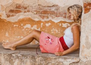LaJuPe džínová sukně lososová riflová áčková vínový náplet motiv růžová květina s kapsou Slide