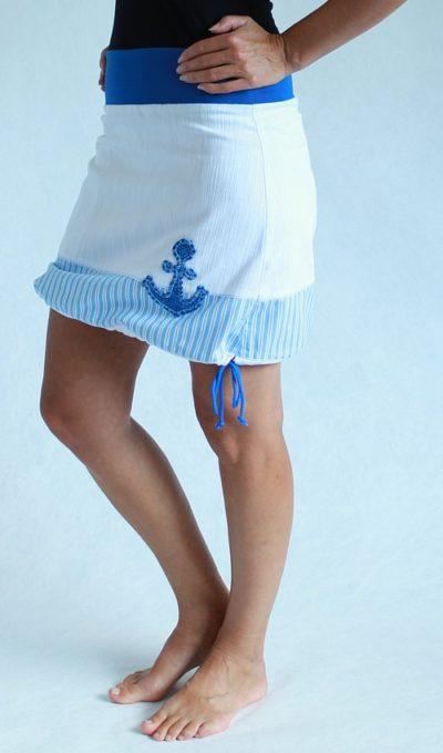 LaJuPe námořnická sukně bílá riflová áčková modrý náplet motiv modrá kotva s kapsou