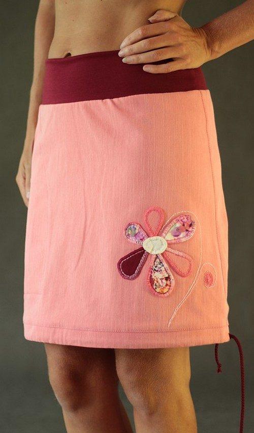 LaJuPe džínová sukně lososová riflová áčková vínový náplet motiv růžová květina s kapsou