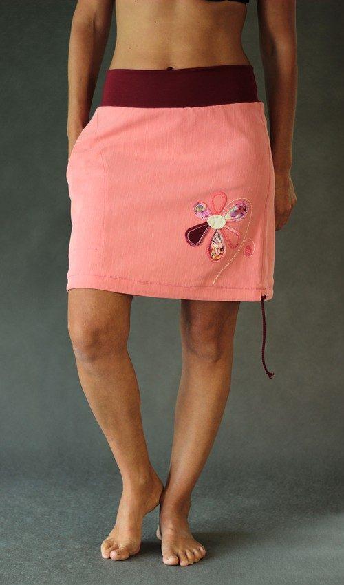 LaJuPe džínová sukně růžová sukně lososová riflová áčková vínový náplet motiv růžová květina s kapsou