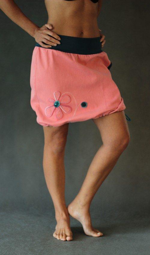 LaJuPe růžová sukně lososová riflová áčková petrol náplet motiv růžová květina s kapsou