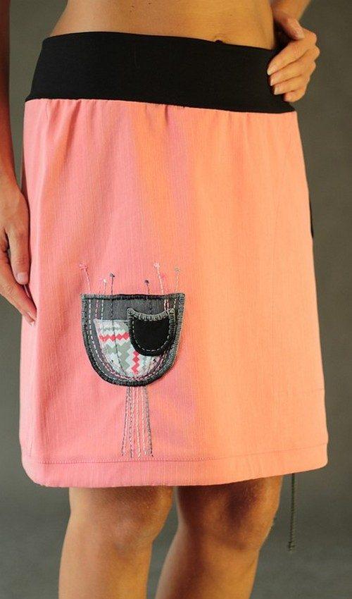 LaJuPe růžová sukně lososová riflová áčková černý náplet motiv hnědý tulipán s kapsou