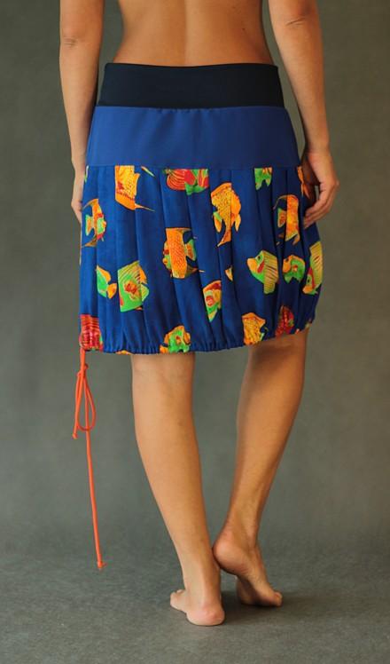 LaJuPe viskózová sukně se sedlem áčková tmavomodrý náplet motiv ryb na stažení do balónkové sukně