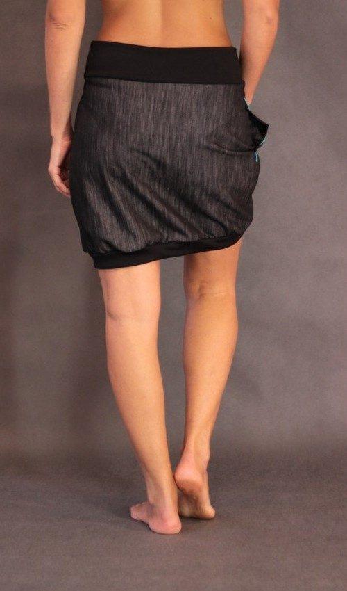 LaJuPe elegantní sukně bavlna_polyester_bez_podšívky_černá_tyrkysová_áčková_1kapsa_úplet_černá_petrol_zvonek_5zvonků