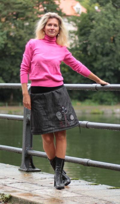LaJupe riflová sukně s nápletem bavlna_polyester_bez_podšívky_šedo černá_motiv_houby