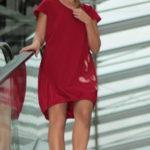 LaJuPe dámské letní šaty s krátkým rukávem úpletové červené aplikace červené lístky