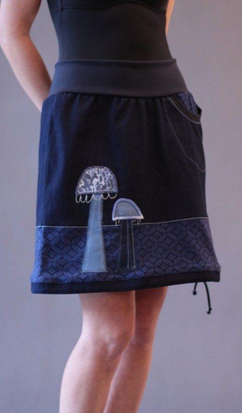 LaJuPe dámská sukně bavlna_polyester_bez_podšívky_modrá_modrá_áčková_1kapsa_tunýlek_tmavěmodrá_bleděmodrá_houbičky_dvěhouby