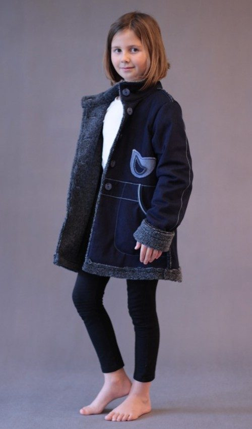 LaJuPe dětský zimní kabát bavlna_polyester_s_podšívkou_modrá_bleděmodrá_vypasovaný_2kapsy_bleděmodrá_tulipán_dvatulipány