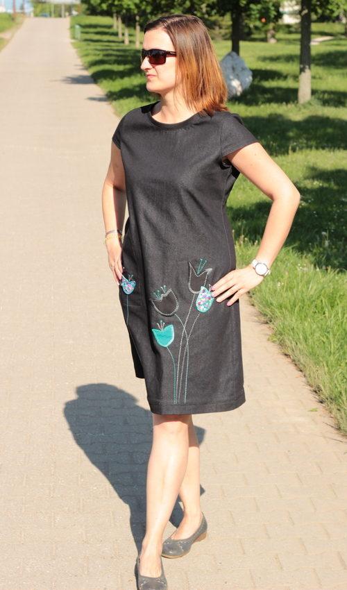 LaJuPe dámské riflové šaty bavlna_elastan_bez_podšívky_černá_tyrkys__1kapsa_tunýlek__tyrkys_tulupán_tulipány