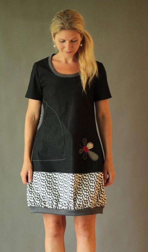LaJuPe dámské retro šaty bavlna_polyester_bez_podšívky_černá_bílá__1kapsa_úplet__šedočervená_kytka_kytka