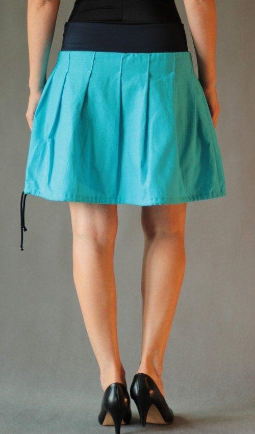 LaJuPe romantická sukně len_viskóza_bez_podšívky_tyrkys_žlutá_skládaná_1kapsa_tunýlek_modrá_žlutá_květiny_louka