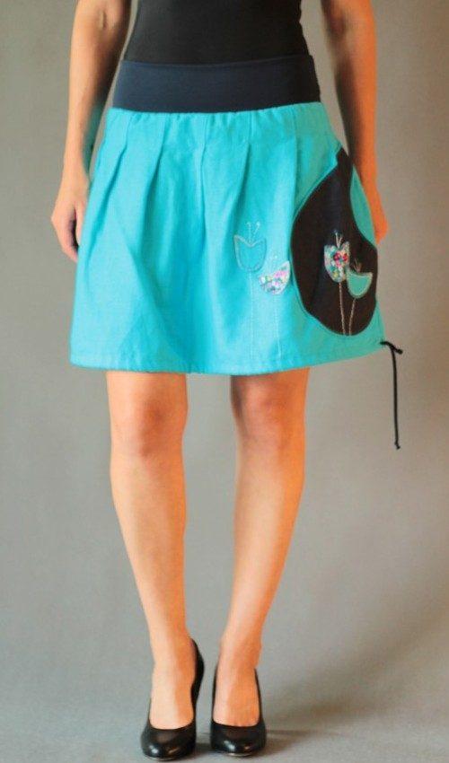 LaJuPe outdoorová sukně len_viskóza_bez_podšívky_tyrkys_modrá_skládaná_1kapsa_tunýlek_modrá_tyrkysovomodrá_louka_zvonky