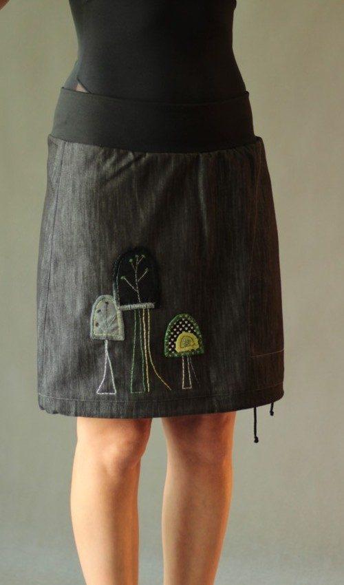 LaJuPe outdoor sukně bavlna_polyester_bez_podšívky_černá_zelená_áčková_1kapsa_tunýlek_černá_zelenočerná_les_třistromy