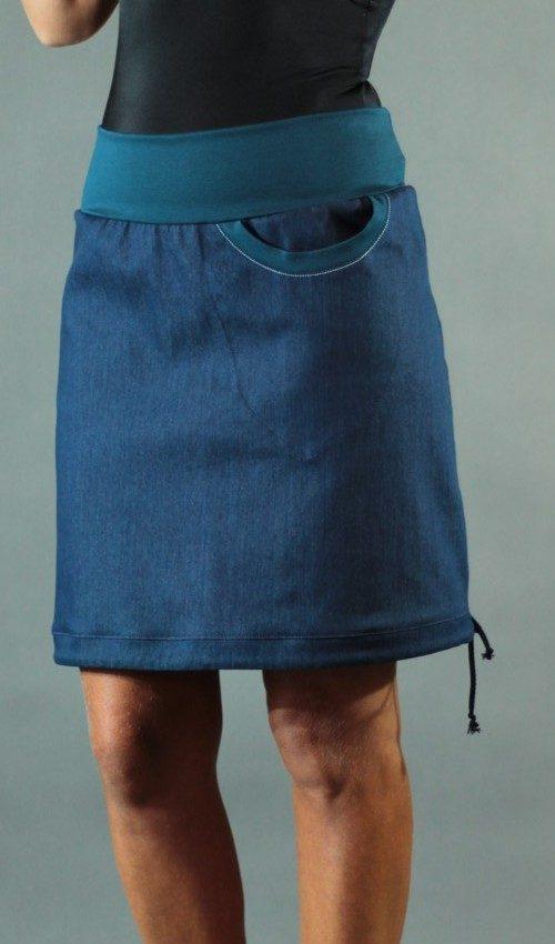 LaJuPe úzká sukně detail_bavlna_polyester_bez_podšívky_modrá_petrol_áčková_1kapsa_tunýlek_petrol_bezmotivu