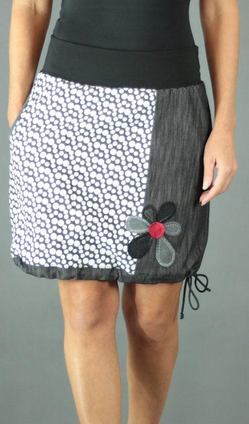LaJuPe elegantní dámská sukně bavlna_polyester_bez_podšívky_antracit_bílá_áčková_1kapsa_tunýlek_černá_černošedá_kytka_květ