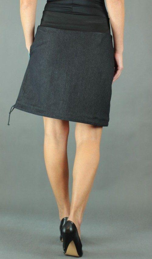 LaJuPe dámská podzimní sukně bavlna_polyester_bez_podšívky_černá_tyrkys_áčková_1kapsa_tunýlek_černá_tyrkysová _kytka_květ