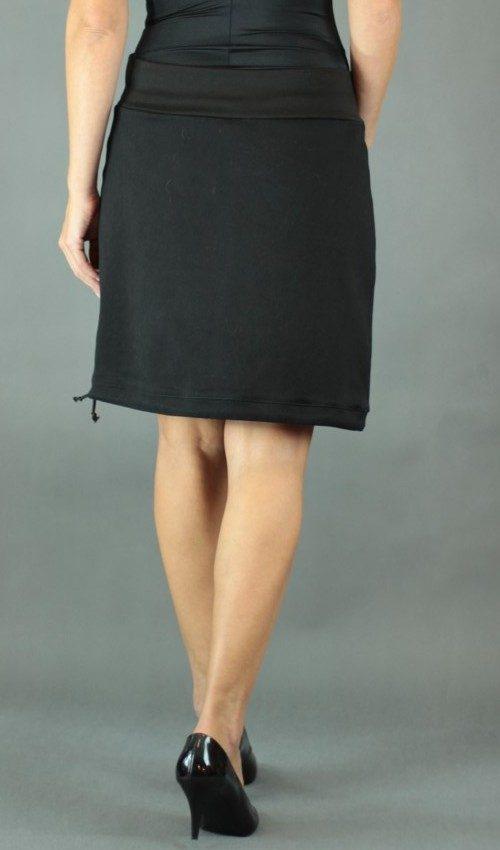 LaJuPe sukně s elastanem bavlna_polyester_bez_podšívky_černá_tyrkys_áčková_1kapsa_tunýlek_černá_šedotyrkysová_kytka_květ
