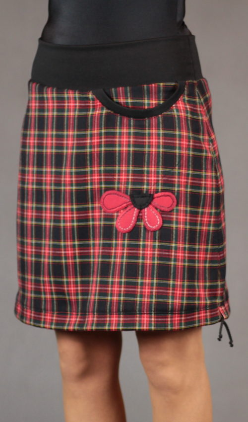 LaJuPe zimní kostkovaná sukně polyester_viskóza_bez_podšívky_červená_modročerná_áčková_1kapsa_tunýlek_černá_červená_kytka_polokvět