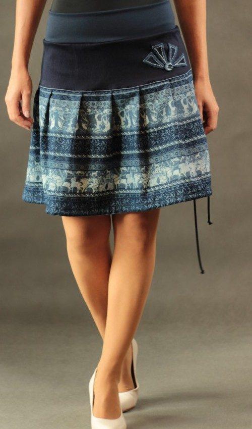 LaJuPe letní sukně dlouhé bavlna_polyester_bez_podšívky_modrá_bleděmodrá_skládaná_bez_kapes_tunýlek_modrá_modrá_mlýn_polomlýn