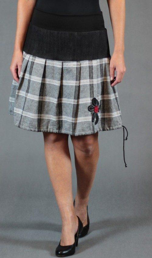 LaJuPe lněná sukně len_viskóza_bez_podšívky_šedá_černá_skládaná_bez_kapes_tunýlek_černá_černočervená_květ_kytka