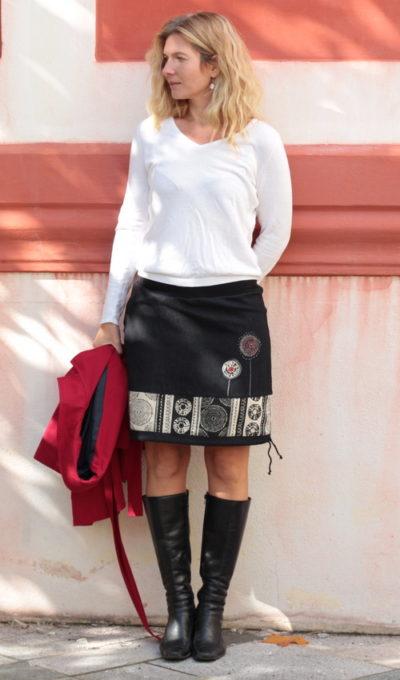 LaJuPe krátká sukně bavlna_polyester_bez_podšívky_černá_režná_se_sedlem_dole_1kapsa_tunýlek_černá_režnočerná_terče_dvaterče