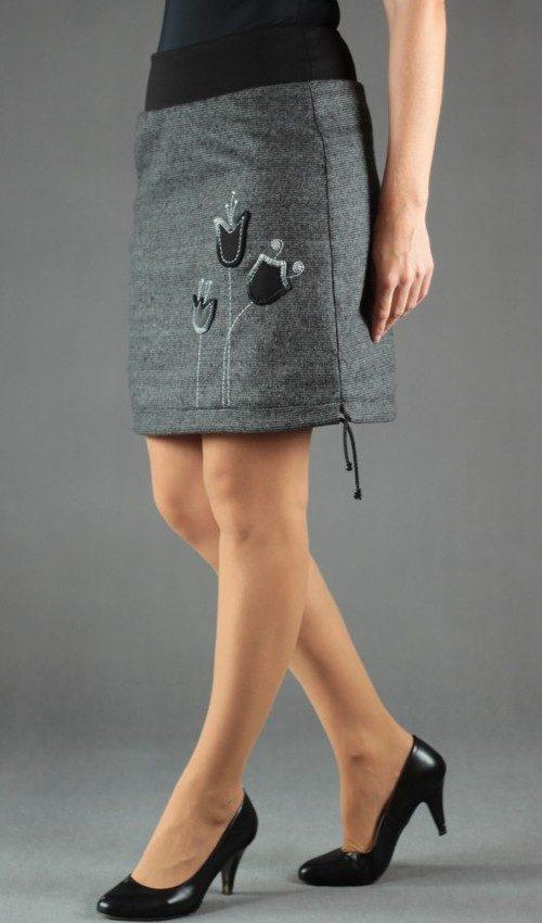 LaJuPe dámská vlněná zimní sukně vlna viskóza_s_podšívkou_šedá_šedočerná_áčková_1kapsa_tunýlek_černá_šedočerná_louka_třizvonky